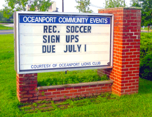 Oceanport Community Events sign paid for by the Oceanport Lions Club