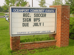 Oceanport Community Events Sign donated by The Oceanport Lions' Strawberry Fair