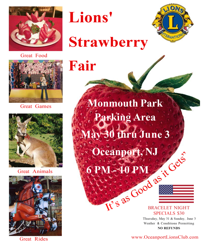 Mark your calendars: 2018 Strawberry Fair Wednesday, May 30 through Sunday, June 3, 2018.